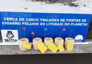 Comerciantes das praias do Foguete e Peró disponibilizam recipientes para descarte de bituca de cigarro