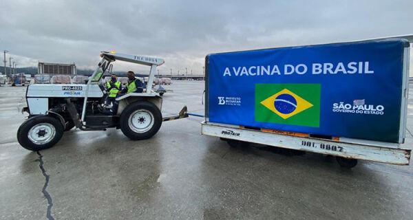 Nova carga de insumos para produção da CoronaVac chega ao Brasil vinda da China