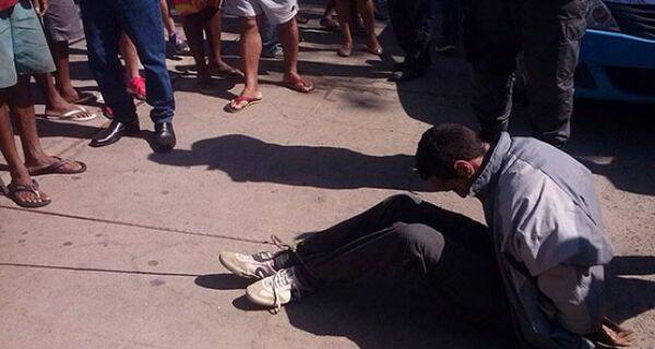 Homem é amarrado e agredido após suposta tentativa de assalto no Centro