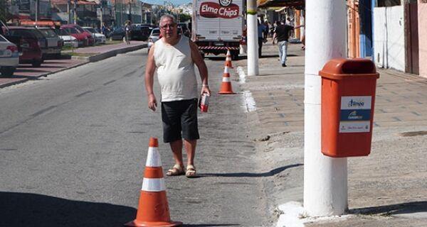 Guarda Municipal coloca cones para impedir estacionamento irregular em São Cristóvão