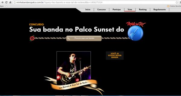 Músico da região participa de concurso 'Sua Banda no palco do Rock in Rio'