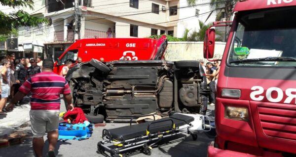 Acidente fere três pessoas na Rua Rui Barbosa, em Cabo Frio