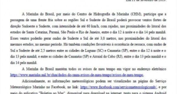 Marinha do Brasil emite alerta de ventos de até 60 km/h