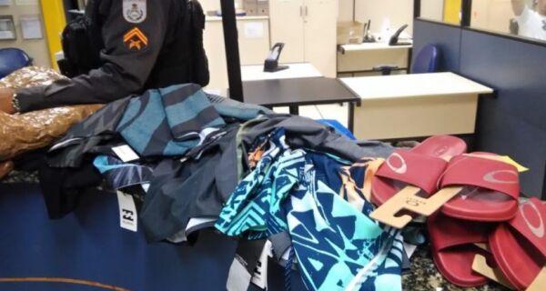 Três homens são presos por furtar R$ 35 mil em roupas de shopping de Unamar