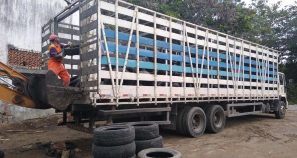 Comsercaf destina 9 toneladas de pneus para reciclagem