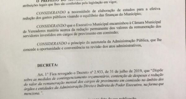 Prefeitura de Arraial do Cabo revoga decreto de contingenciamento orçamentário
