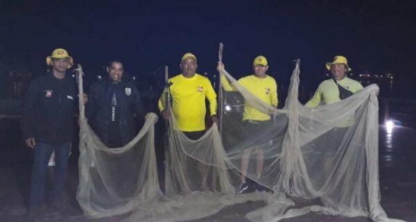 Guarda Marítima e Ambiental apreende redes de pesca na Praia das Palmeiras