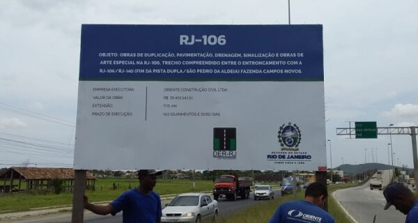 DER-RJ começa obras na rodovia-RJ-106 nesta terça-feira (22)