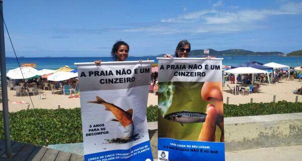 Cabo Frio inicia campanha de conscientização contra o descarte irregular de bituca de cigarro nas praias