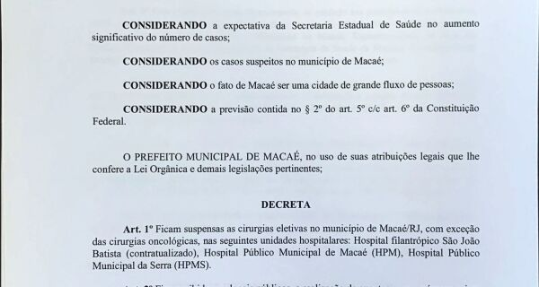 Macaé anuncia decreto com medidas contra o coronavírus