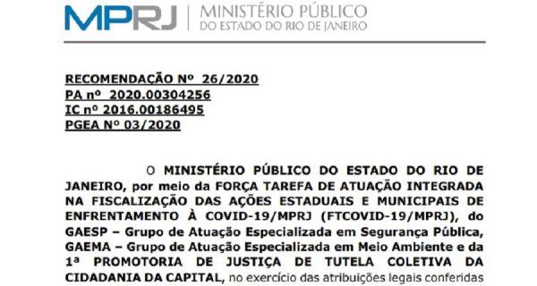 Estado do Rio deve ter Plano de Gestão de Óbitos em função do coronavírus, recomenda MP