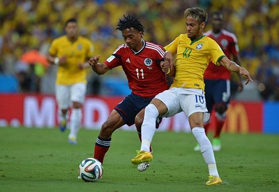 Brasil melhora,  vence seleção colombiana por 2 a 1 e encara Alemanha na semifinal