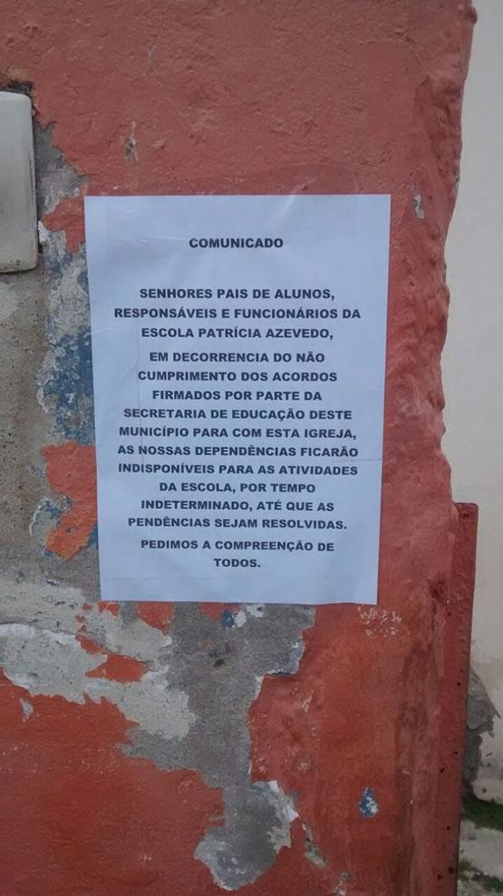 Escola do Jardim Esperança amanhece fechada e alunos são impedidos de entrar