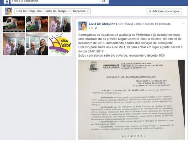 Prefeita de Araruama quer revogar aumento na tarifa dos ônibus