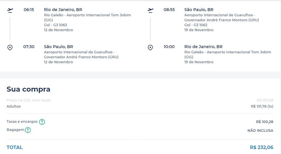 Promoção do Rio de Janeiro para São Paulo por R$ 232