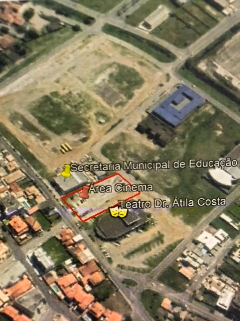 Mapa mostra o local onde será construído o complexo cinematográfico